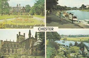 Chester.  Multi-view  postcard with some creasing.  Unwritten/Unposted