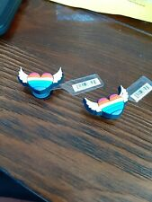 jibbitz crocs shoe charms ** heart with wings** NWT  set of 2 pieces