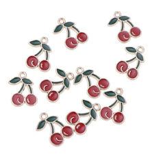10 x Kawaii Cherry Enamel Charm Pendants DIY Bracelets Necklaces Craft