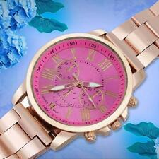Luxury Womens Fashion Stainless Steel Quartz 3 Dials Date Analog watch Rose MT