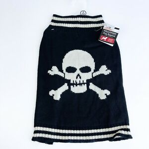 NEW Dog Skull Black & White Knit Sweater Multiple Sizes Available