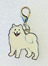 Samoyed Dog Pup Bag Enamel Alloy Purse Charm Dangle Zipper Pull Jewelry