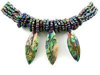 Three Iridescent Paua Abalone Shell Pendant Beads Necklace Women Jewelry GA268