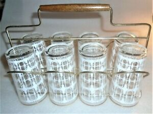 Set 8 Mid Century Modern Gold Rim White Design Highball Tumbler Glasses & Holder