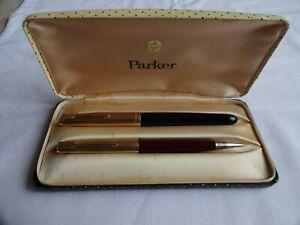 1960`s PARKER 51 1/10 12ct ROLLED GOLD&BLACK FOUNTAIN PEN & BURGUNDY PENCIL SET