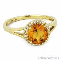 1.35 ct Round Cut Citrine & Diamond Halo 14k Yellow Gold Promise Engagement Ring