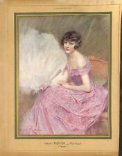 Jeune fille en robe de bal avec éventail d'Henri Royer peintre ILLUSTRATION 1926
