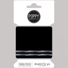 Cuffs Bündchen schwarz mit Streifen in Silber Lurex Fertigbündchen 135 cm x 7 cm
