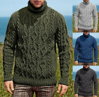 Mens Turtleneck Cable Knitted Long Sleeve Slim Fit Chunky Casual Winter Sweaters