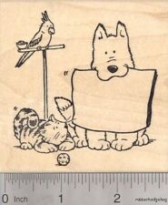 Dog, Cat, Bird, Pet Rubber Stamp With Blank Message Slate L18113 WM