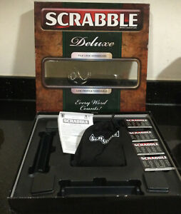 Scrabble Deluxe Board Game Black Tiles & Rotating Low Profile Turntable VGC RARE