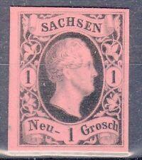 Saxony, Sc#5, VF NG, 1 Ngr Blk Proof on Rose tinted card, Signed, Mi#4P2, *RARE*