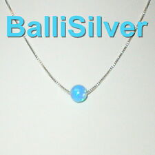 Sterling Silver 925 BOX Chain Necklace with 5mm BLUE OPAL BEAD