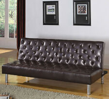 NEW MAWULI CONTEMPORARY TUFTED BROWN BYCAST LEATHER ADJUSTABLE FUTON SOFA