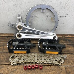 Old School BMX Sugino Super Maxy Crank Set Lot Chain Ring Wolf Tooth Red