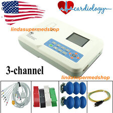 3 Channel 12 lead ECG/EKG Machine+USB PC Software Electrocardiograph USA FDA CE