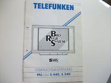 Anleitung, Bedienungsanleitung, Telefunken Palcolor S440, S540, TV, Fernesher