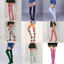 High Socks Womens Stockings Girls The Knee Sheer Striped Thigh Plus Size Over
