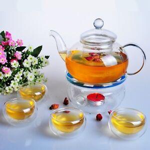 Glass Tea Pot Set Teapot with Tealight Warmer and 6 Tea Cups double walled glass