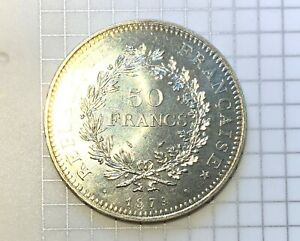 France Silver 50 Francs Hercules - 1979 - Pristine & Flashy Giant Modern Crown!!