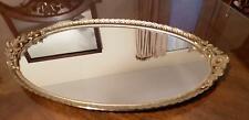 Antique-Vintage Oval Mirror Vanity Tray Gold Filigree Edge Gold Flower Handles
