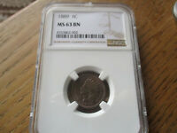 1C 1889 Indian Head Penny NGC MS 63 Beautifully Toned!