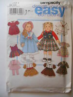 """Simplicity 9381 Doll Clothes Dresses Outfits for 18"""" Girl Dolls UNCUT"""