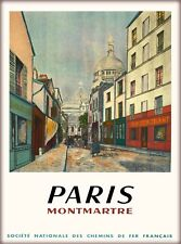 Paris Montmartre France French Vintage Travel Advertisement Art Poster Print