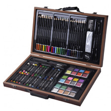 80 Piece Deluxe Art Set Drawing and Painting w/ Wood Case Accessories New Kit