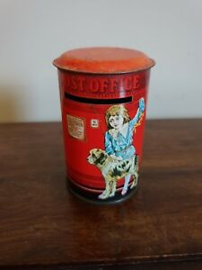 1970's Vintage Ian Logan Post Office Money Box Tin (Post Red Girl Dog Children)