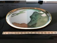 Effepi 3 Inox 18/10 Large Oval Shape Stainless Steel Vintage Serving Tray- ITALY
