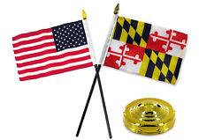 "Maryland State w/ USA America American Flag 4""x6"" Desk Set Table Stick Gold Base"