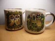Set of 2 Vintage Retro Stoneware Owls in Trees Coffee Mugs Cups Made in Korea