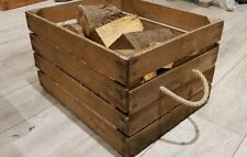 LOG BASKET / FIRE WOOD STORAGE  / FIREPLACE KINDLING BOX Wooden Apple Crate ROPE