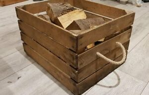 LOG BASKET / FIRE WOOD STORAGE  / FIREPLACE KINDLING BOX Wooden Apple Crate ROPE