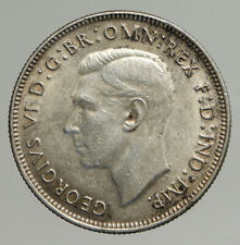 1943M AUSTRALIA Large King George VI Kangaroos VINTAGE Silver Florin Coin i93830