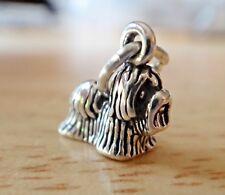 Sterling Silver 3D TINY 10x11mm Shih Tzu or Maltese Dog Charm
