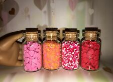 """4 Valentine's Hearts Candy Shop Treats Glass Jars For 18"""" American Girl Dolls"""