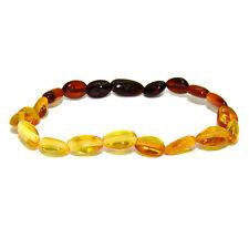 Bracelet adulte avec Olive d'ambre multicolore, Bracelet baroque ambre veritable