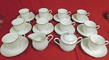 26-Pc Lenox HANNAH Gold Debut Collection Footed Cups,Saucers Creamer & Sugar