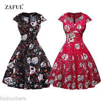 Vintage Dress Women Skull Print Sweetheart Swing Dress Rockabilly Dresses