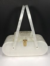 Vintage Rialto Lucite Purse w/ Pearlescent White Body/Handles & Clear Etched Lid