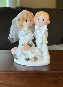 "Bride and Groom Wedding Cake Topper 4"" Figurine Blonde White Pink"