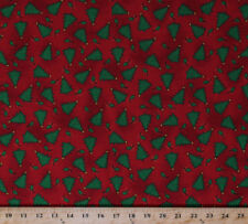 Christmas Trees Stars Leaves Red Holiday Cotton Fabric Print by the Yard D500.16