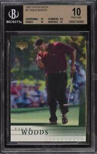 2001 Upper Deck Golf Tiger Woods Rookie RC #1 BGS 10 PRISTINE PSA 10 GEM MINT