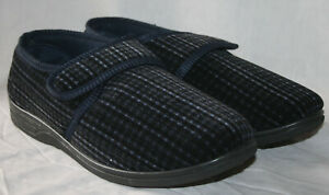 MENS TOUCH & CLOSE PRINTED CHECK SLIPPER NAVY SIZE UK 10