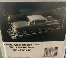 "Diecast Car Memorabilia Display Case w/ Checkered Bottom Holder 13"" x 5"" x 5.5"""