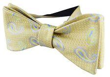 Mens Yellow Gold Green Bow Tie SALE Italian Silk Stylish Floral Wedding Paisley