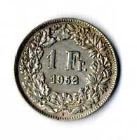 Moneda Suiza 1952 B 1 franco suizos plata .835 silver coin Helvetia