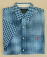 US Polo ASSN Pony Short Sleeves Gingham Plaid Holiday Classic Dress Shirt M XXL